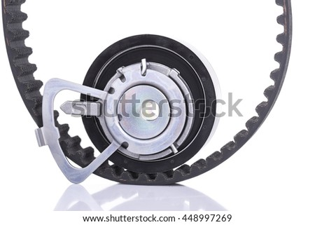 Image og Timing belt with roller isolated on white - stock photo