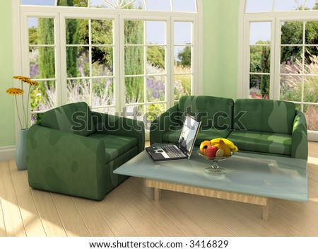Image on the laptop is my own photograph. Modern room with french windows and laptop on the table. - stock photo