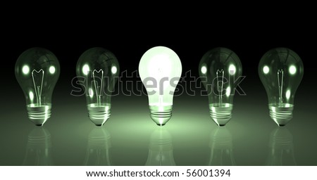 Image one lit light bulb next to other unlit bulbs.