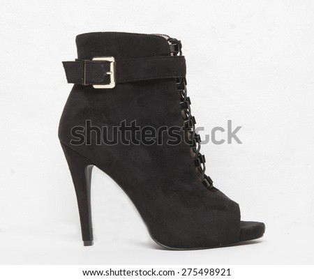 Image pf a leather womans ankle boot - stock photo