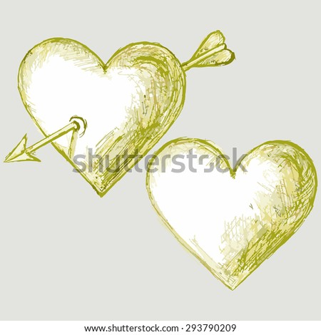 Image picture of two hearts with an arrow. Symbols of love. Raster version - stock photo