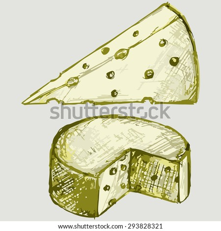 Image pieces of cheese. Dairy. Raster version - stock photo