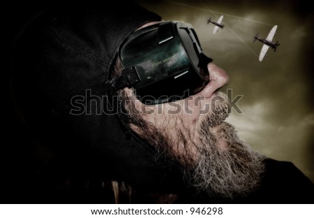 Image portraying a pilot wearing night scope goggles - stock photo