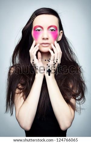 Image praying brunette - stock photo