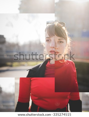 Image reconstruction with overlapping photos of the half length of a young handsome brown straight hair vintage woman, red dressed, posing in the city - photomontage, collage concept - stock photo