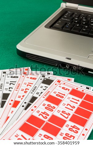 Image related to classic and online casino  games  on a bingo cardas background from a player's perspective - stock photo