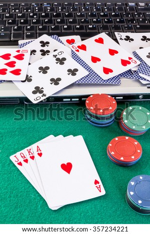 Image related to classic and online casino  games  on a green background from a player's perspective