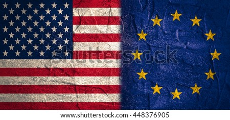 Image relative to politic relationships between United States and European Union. National flags textured by concrete
