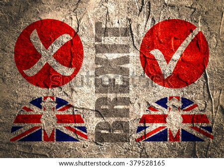 Image relative to politic situation between great britain and european union. Politic process named as brexit. Concrete textured - stock photo