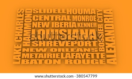 Image relative to USA travel. Louisiana cities and places names cloud