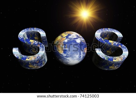 image representing the concept of the earth in danger - stock photo