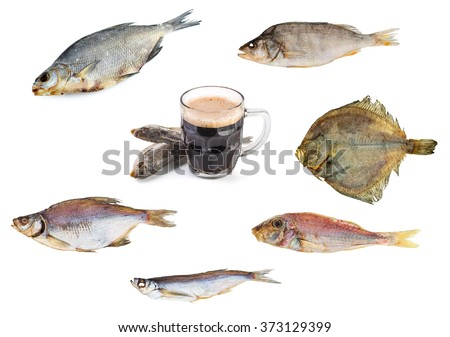Image set: dried fish and beer - stock photo