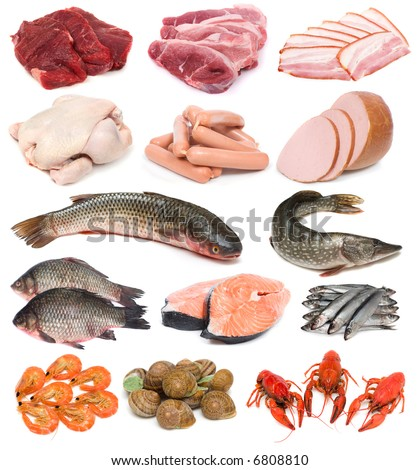 image set of fresh meat, fish and seafood on white background - stock photo