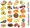 image set of fresh ripe exotic fruits on white background - stock photo