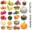 image set of fresh ripe fruits and pumpkins on white background - stock photo