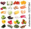 image set of fresh ripe vegetables on white background - stock photo