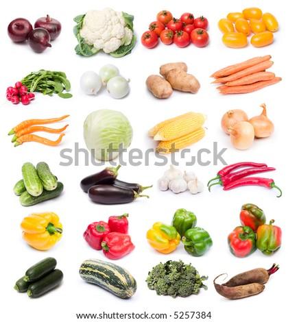 image set of fresh ripe vegetables on white background - stock photo