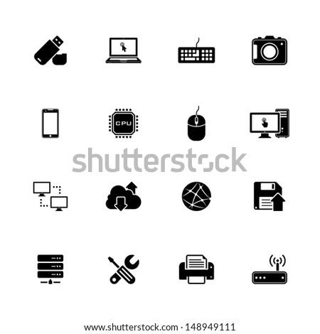 Image set of 16 technology icons - stock photo