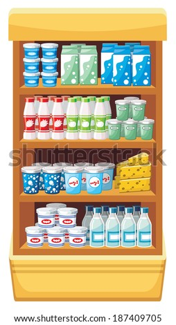 Image shelves with dairy products at the supermarket. Raster illustration.  - stock photo