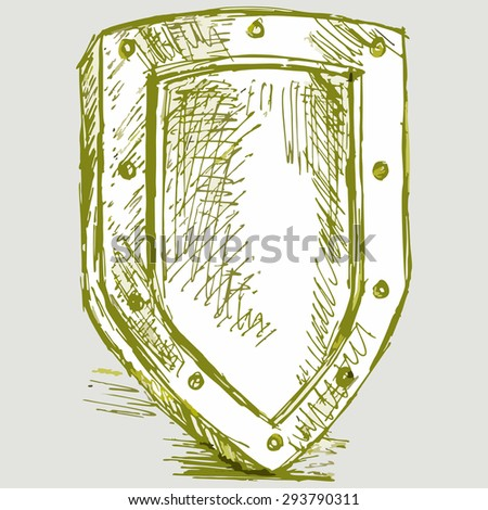 Image shield. Military equipment for self-defense. Raster version - stock photo
