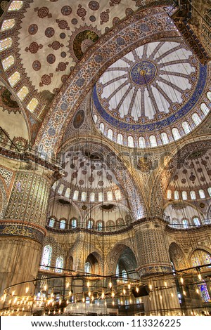 Image shot inside the grand Blue Mosque in Istanbul, Turkey - stock photo