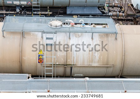 Image showing old abandoned freight trains and cargo - stock photo