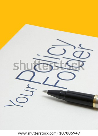 Image showing text policy Folder with pen on isolated background with clipping path. - stock photo