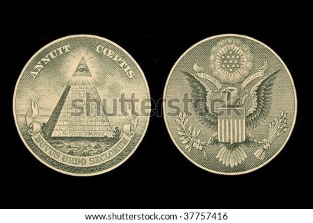 Image showing the seals of a dollar bill isolated on black - stock photo