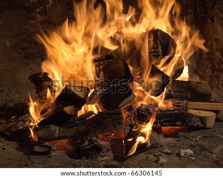 Image shows a fireplace close up