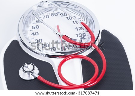Image Shows An Analog Bathroom Scales With A Stethoscope