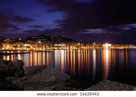 Image shows the cosmopolitan city of Cannes, in the French Riviera, shot right before dawn - stock photo