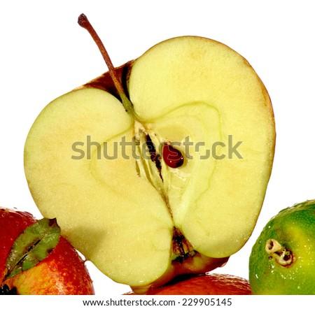 image slice of apple on a white background - stock photo