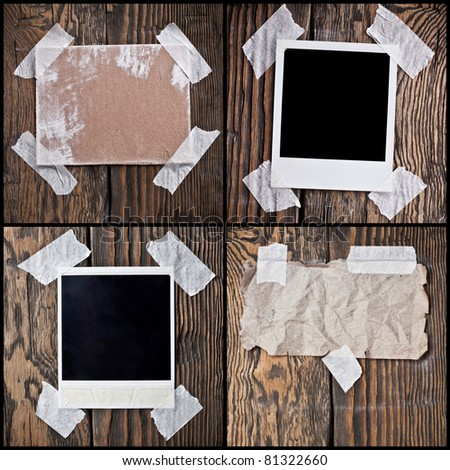 Image, the cardboard, the crumpled paper on a wooden background - stock photo