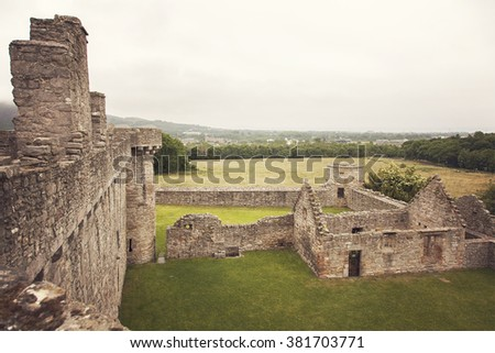 Image the crumbling buildings of Craigmillar castle.Edinburgh, Scotland.  - stock photo