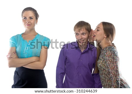 Image two gossiping people about third person on white background - stock photo