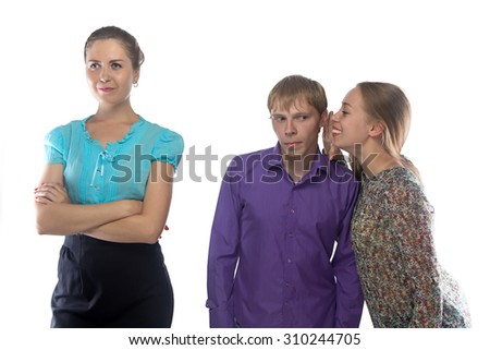 Image two gossiping woman and man on white background - stock photo