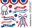 Image version of a collection of patriotic emblems, including banners, ribbons, and bunting in traditional red, white and blue - stock photo