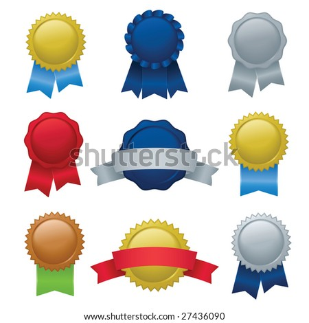 Image version of a collection of seals, badges, and ribbons - stock photo
