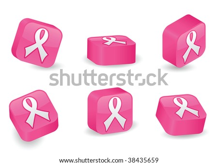 Image version of awareness ribbon icon on vibrantly pink, glossy, three-dimensional blocks in various positions - stock photo