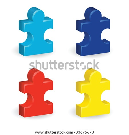 Image version of four brightly colored, three-dimensional puzzle pieces, representing autism awareness - stock photo
