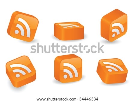 Image version of RSS icon on vibrant, glossy, three-dimensional blocks in various positions - stock photo