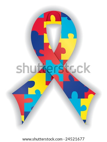 Image version of smooth, satin autism awareness ribbon - stock photo