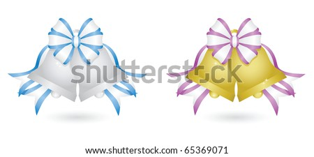 Image version of two sets of sparkling wedding bells: silver bells with blue and white ribbon and gold bells with purple and white ribbon