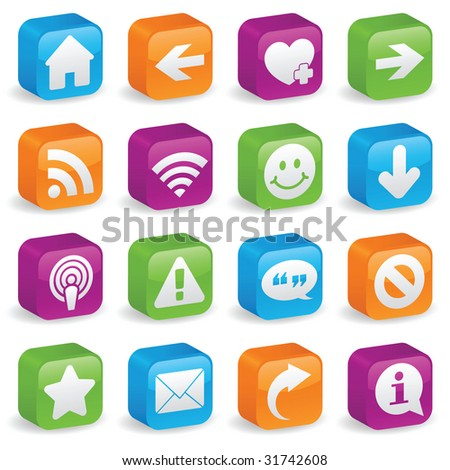 Image version of various web icons and symbols on brightly colored, three-dimensional square buttons - stock photo