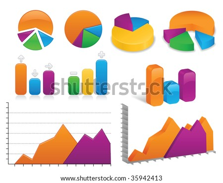 Image version of vibrantly colored charts and graphs, both in 2D and 3D styles - stock photo