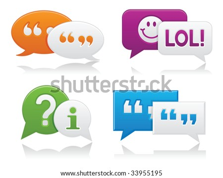 Image version of vibrantly colored, smooth-style chat bubbles with drop shadows; perfect for web projects - stock photo