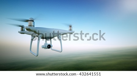 Image White Matte Generic Design Air Drone with video action camera Flying Sky under the Earth Surface. Green Fields Background. Wide, front side angle view. Film Effect. 3D rendering - stock photo