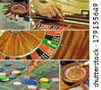 image with a casino roulette table game colage - stock photo