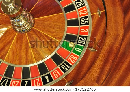 image with a casino roulette wheel with the ball on number zero