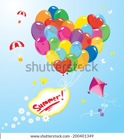 Image with colorful balloons in heart shape and banner with word SUMMER, parachutes,  kite and butterflies on sky blue background.  Raster version - stock photo